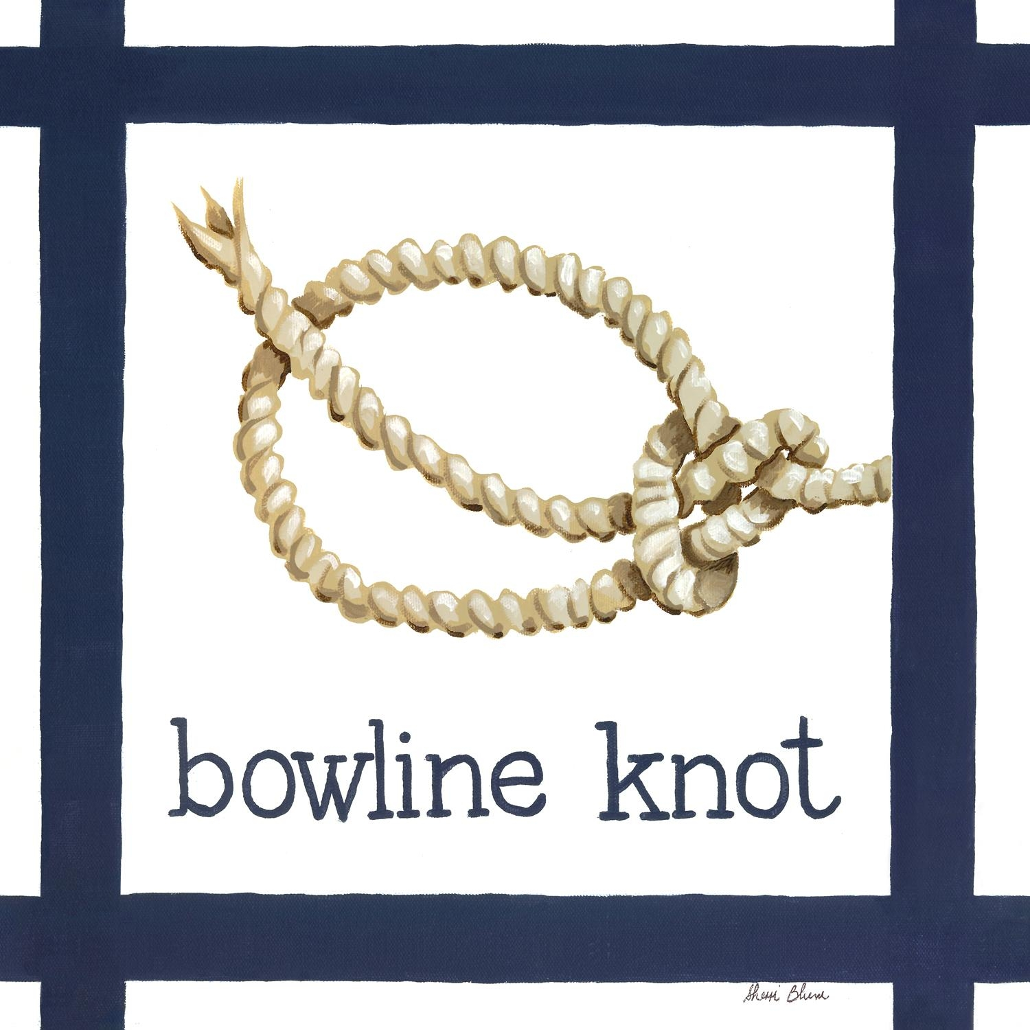 Nautical Nursery Decor, Nautical Knot Bowline Canvas Wall Art For Kids Regarding Nautical Canvas Wall Art (View 20 of 20)