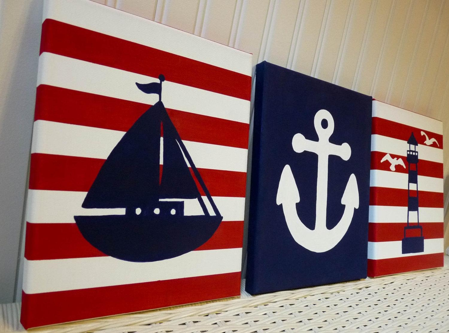 Nautical Nursery Paintings Nursery Wall Decor Sailboat For Nautical Canvas Wall Art (View 10 of 20)