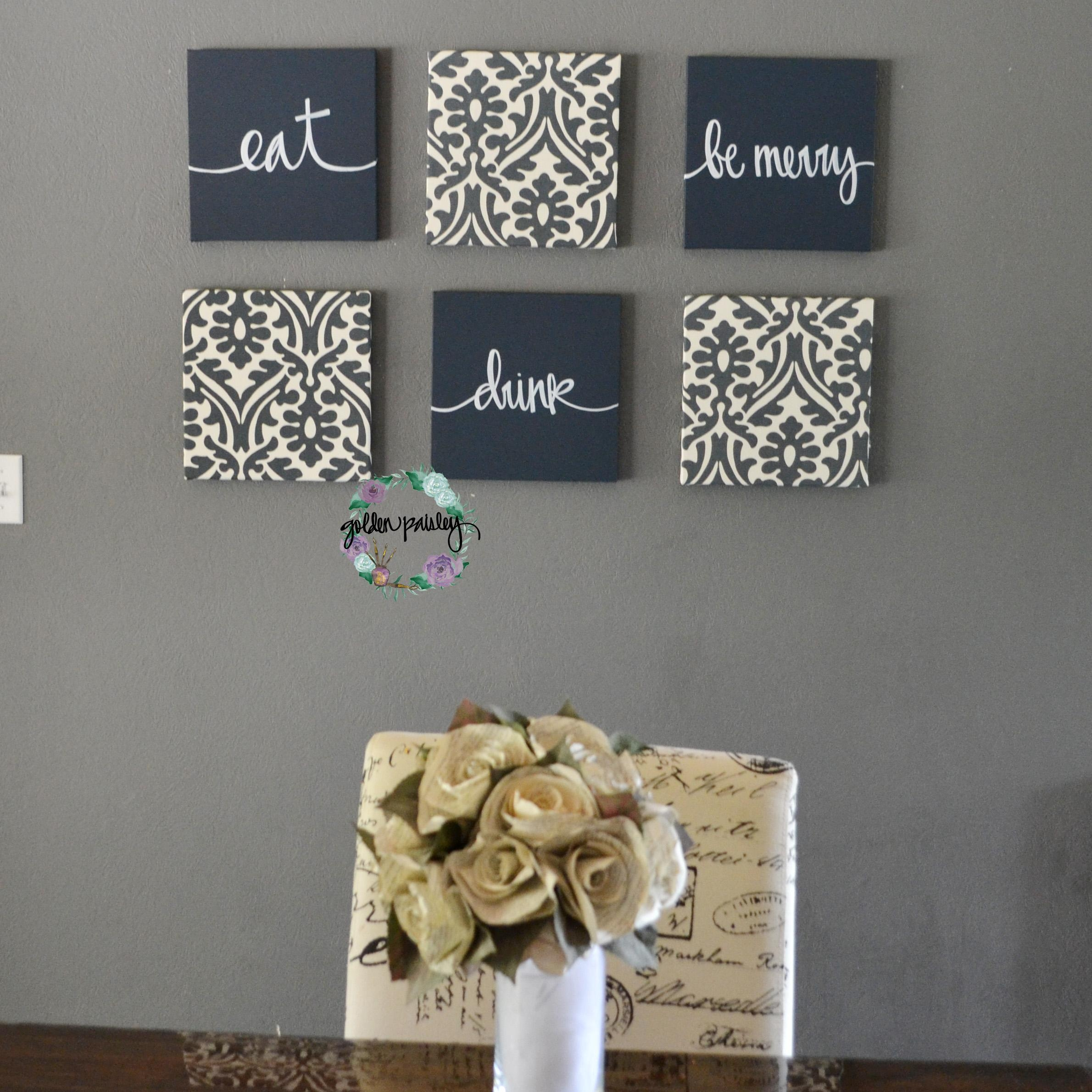Navy Blue Eat Drink Be Merry Set For Navy Blue Wall Art (Image 15 of 20)