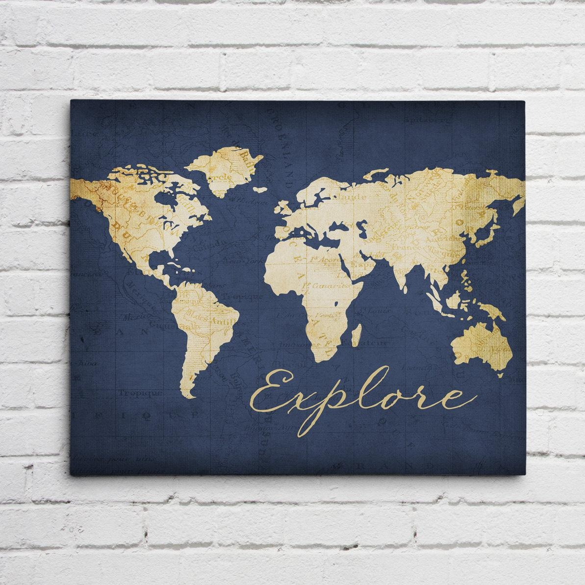 Navy Blue Explore Wall Art throughout Navy Blue Wall Art