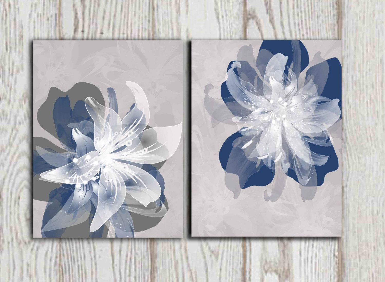 Navy Blue Gray Flower Wall Art Prints Large Poster Print Inside Blue And White Wall Art (Image 13 of 20)