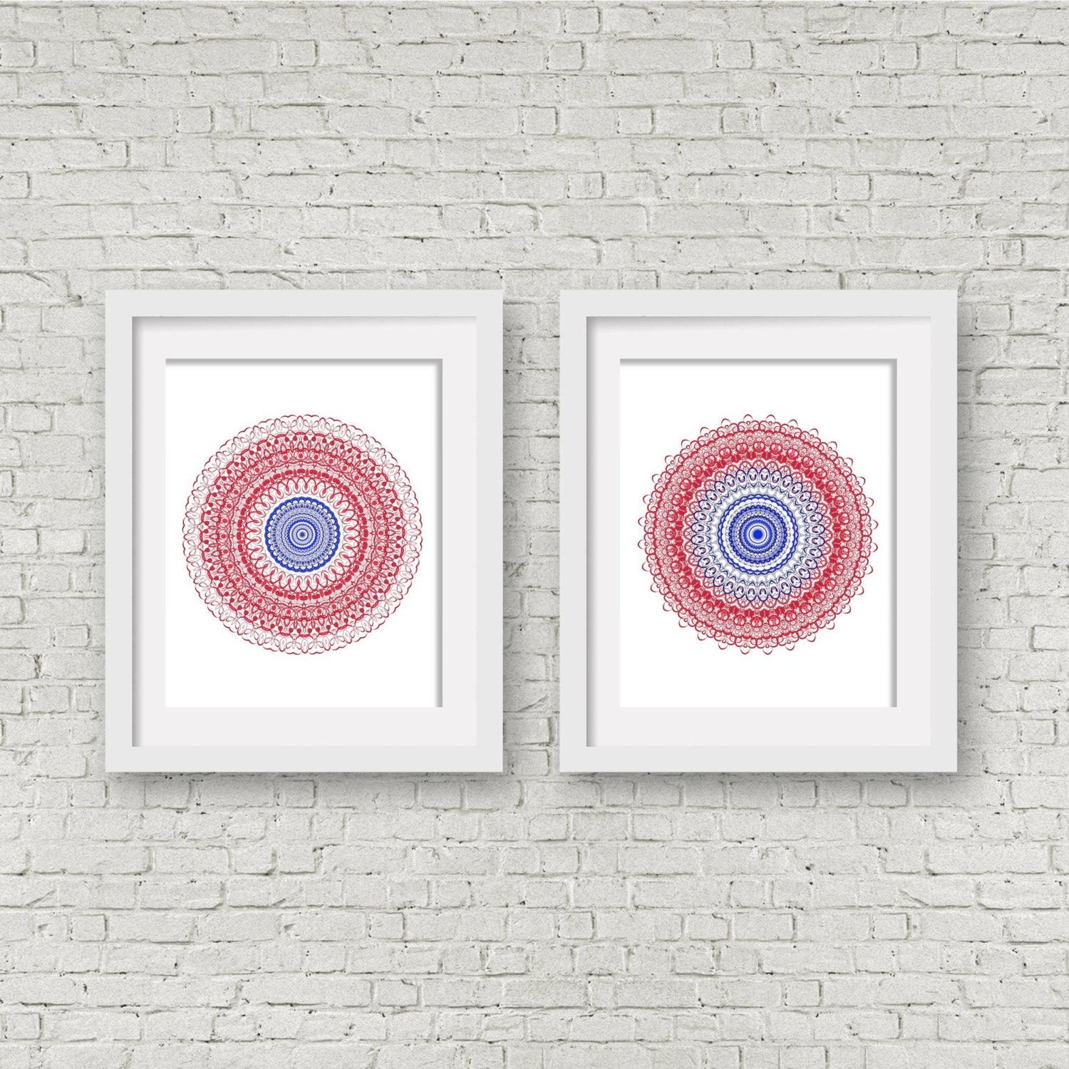 Navy Blue Print Set Pair Of Prints Matching Wall Art Coral In Matching Wall Art Set (Image 7 of 20)