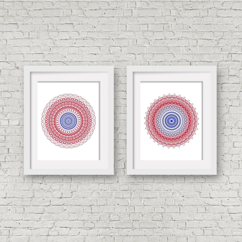 Navy Blue Print Set Pair Of Prints Matching Wall Art Coral In Matching Wall Art Set (View 14 of 20)