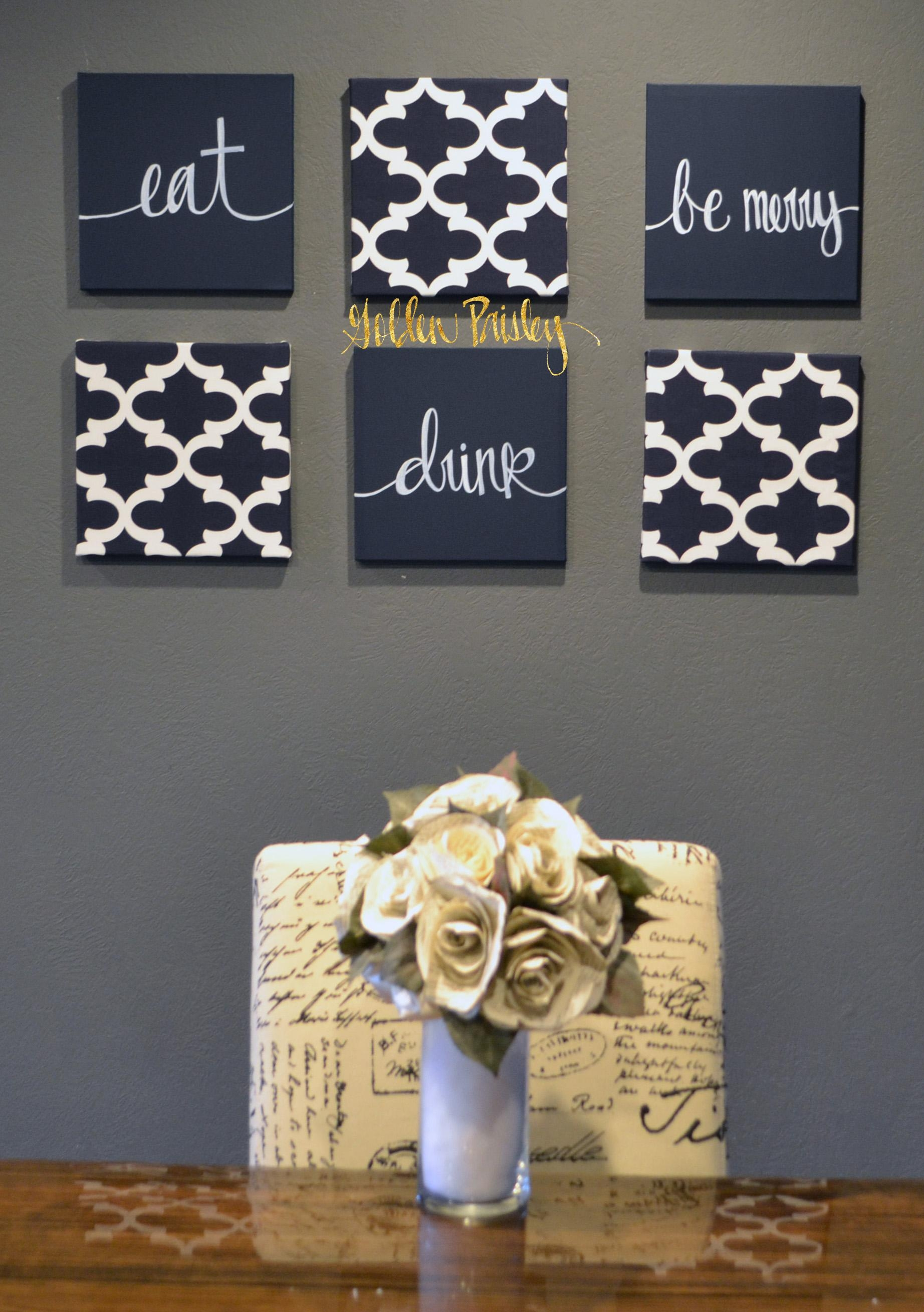 Navy Blue Wall Art Set intended for Blue And White Wall Art