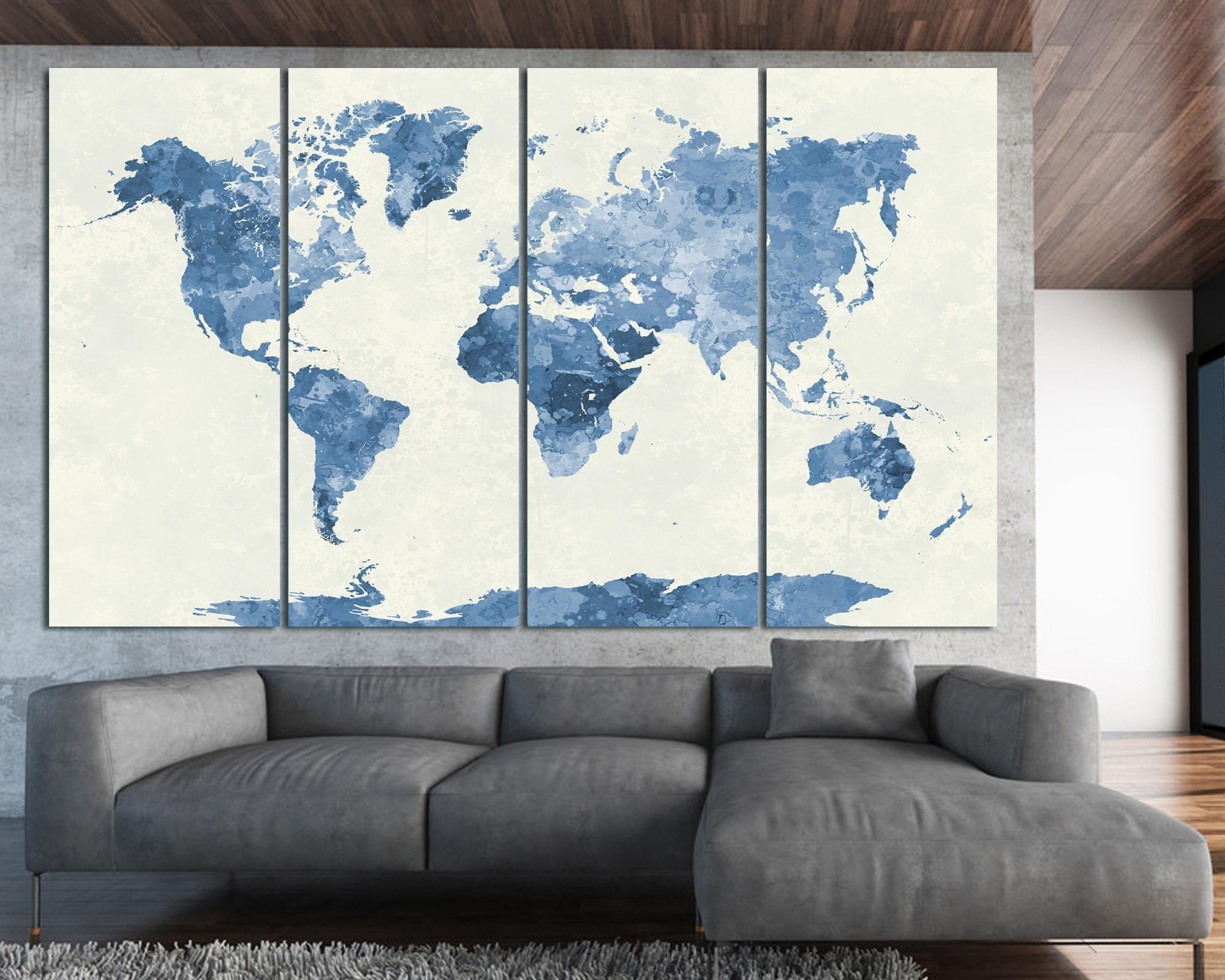 Navy Blue Watercolor World Map Print At Texelprintart For Navy Blue Wall Art (View 16 of 20)
