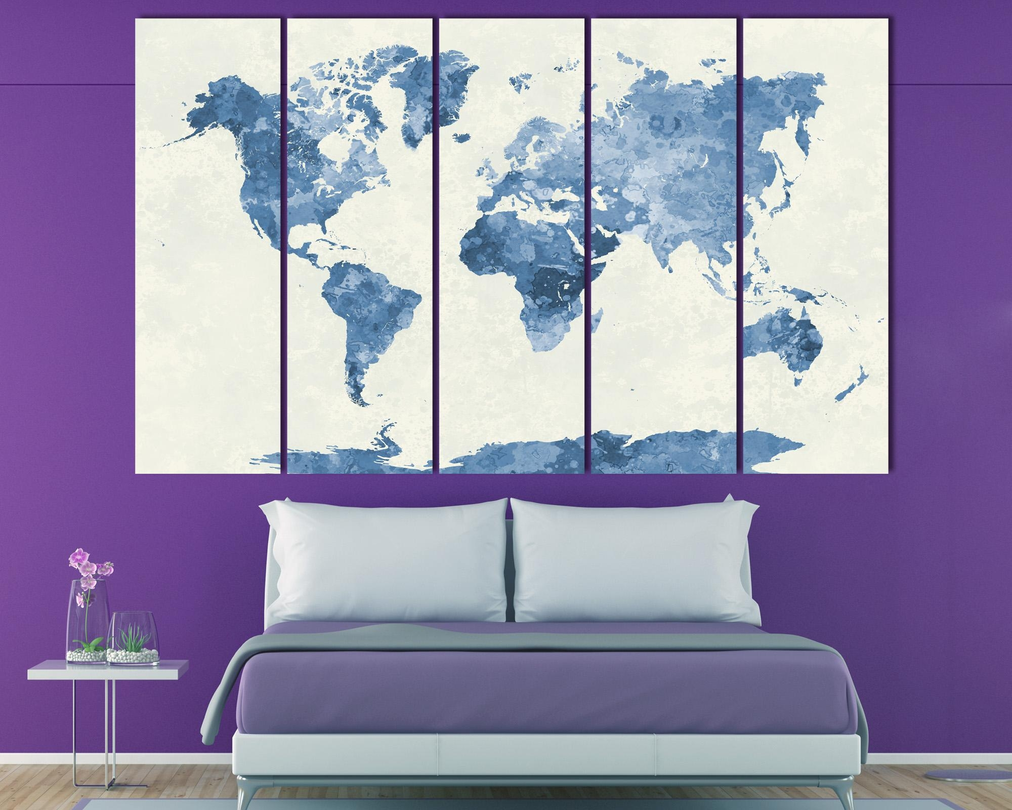 Navy Blue Watercolor World Map Print At Texelprintart with Dark Blue Wall Art