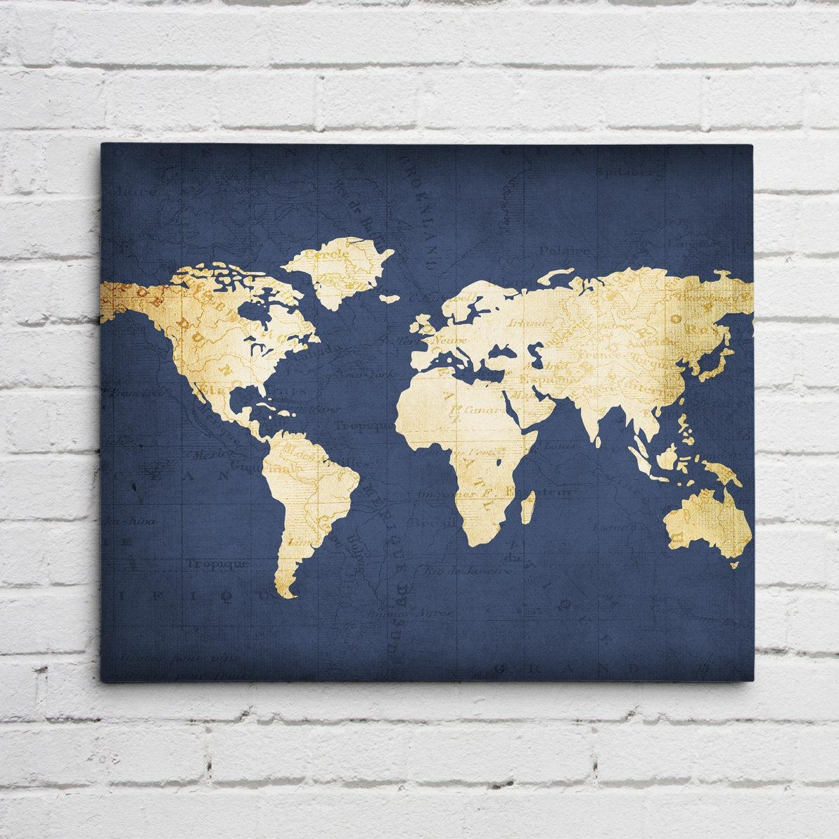 Navy Blue World Map in Dark Blue Wall Art