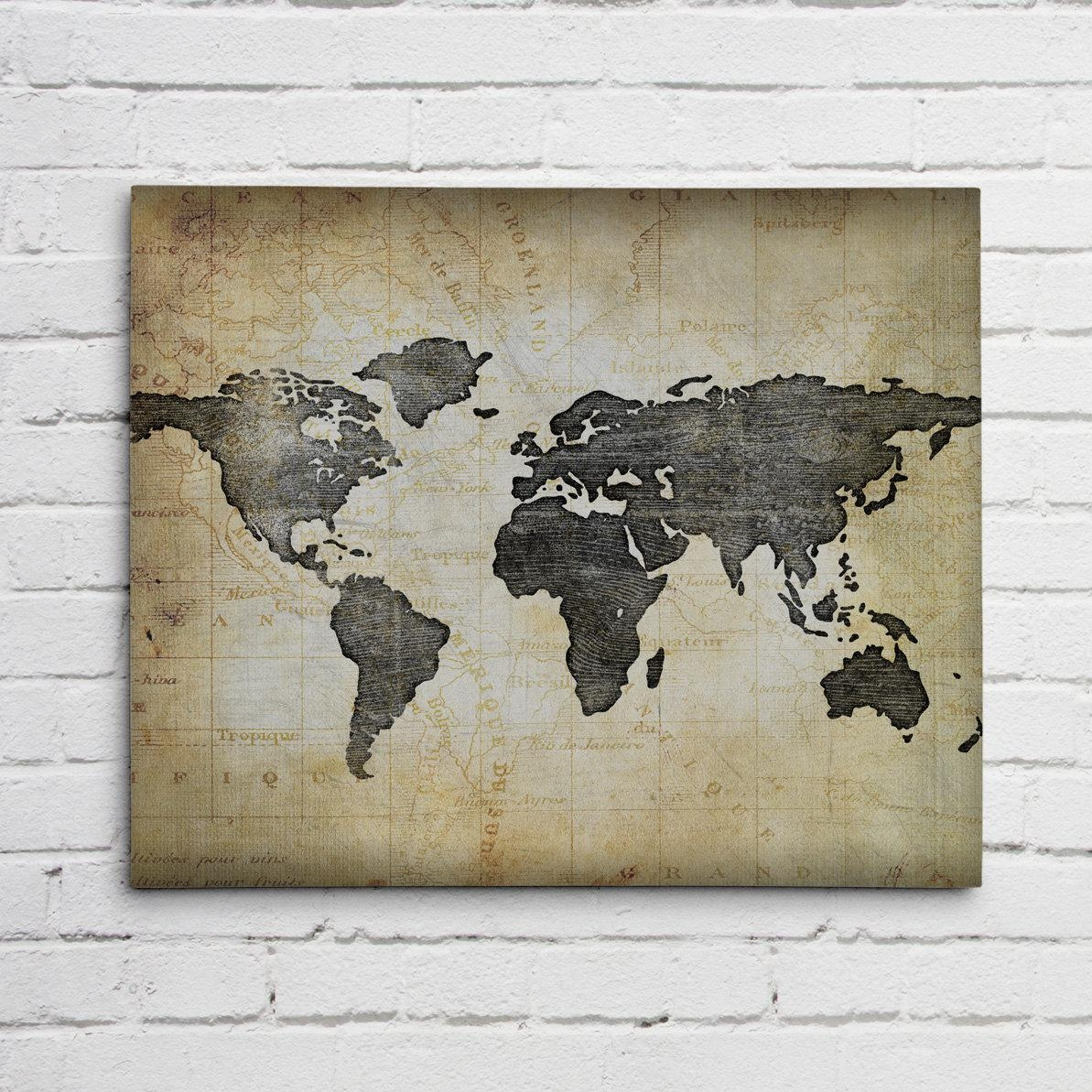 Navy Blue World Map Pertaining To Framed World Map Wall Art (Image 10 of 20)