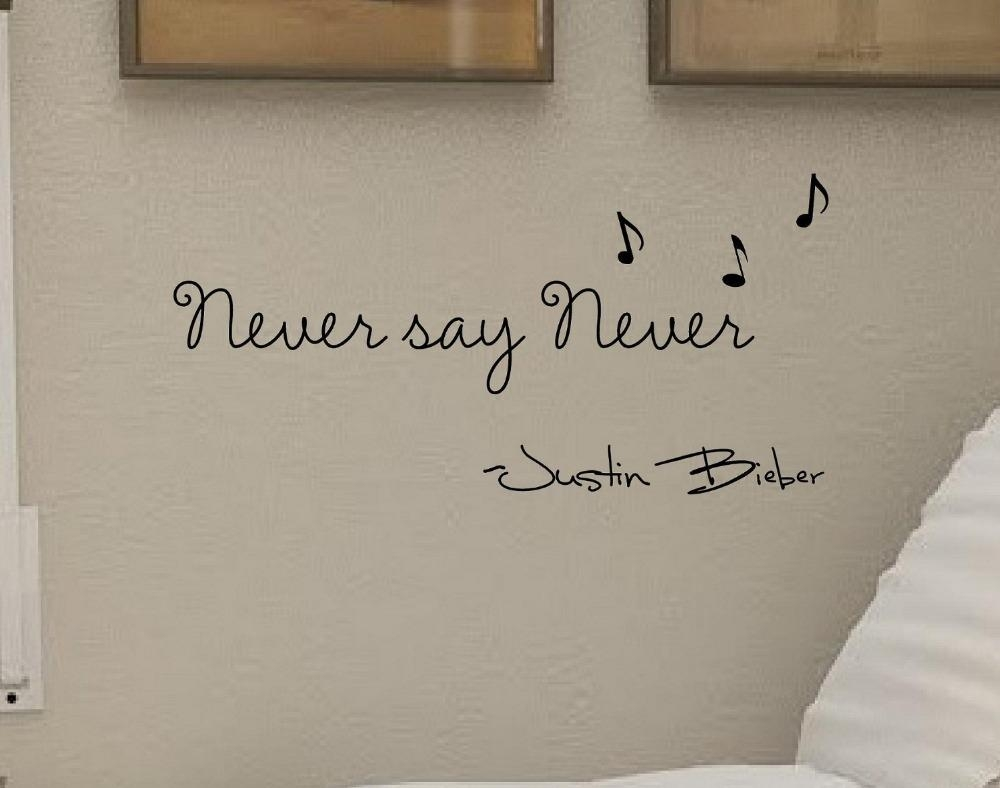 Never Say Never! Justin Bieber Vinyl Wall Art Inspirational Quotes with regard to Justin Bieber Wall Art