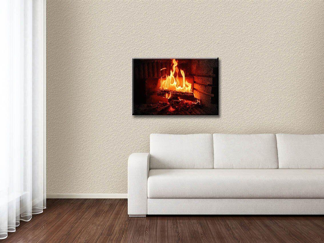 New Led Lighted Canvas Fireplace Wall Art Prints Picture Home &amp for Fireplace Wall Art