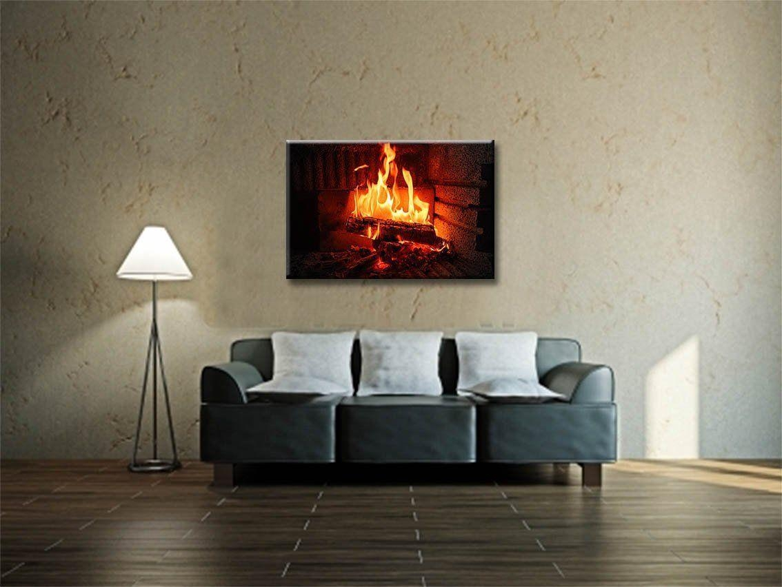 New Led Lighted Canvas Fireplace Wall Art Prints Picture Home &amp regarding Fireplace Wall Art