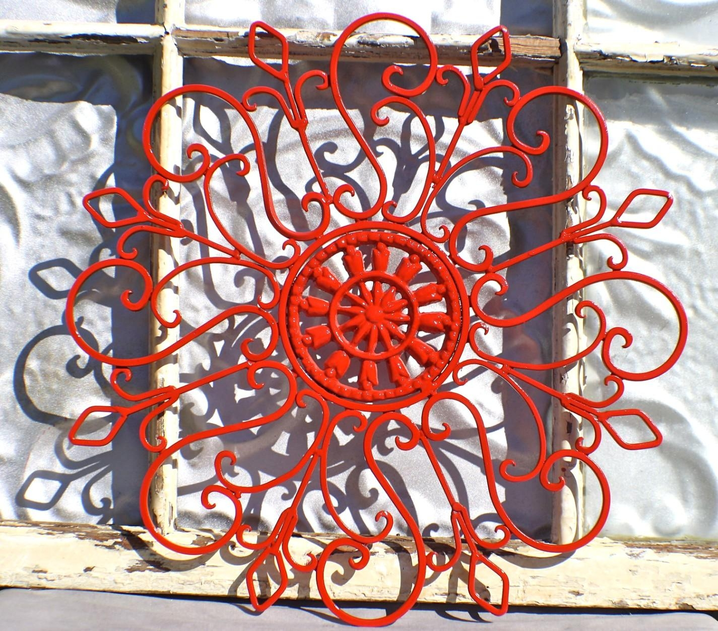 New Red Flower Metal Wall Decor For Red Flower Metal Wall Art (Image 11 of 20)
