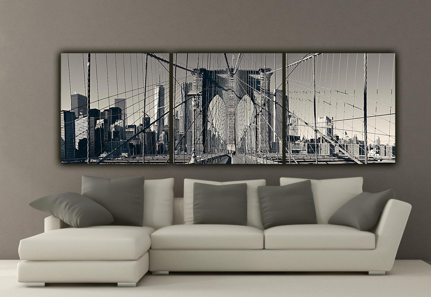 New York Brooklyn Bridge Canvas Wall Art Black And White New With Regard To Big Canvas Wall Art (Image 13 of 21)