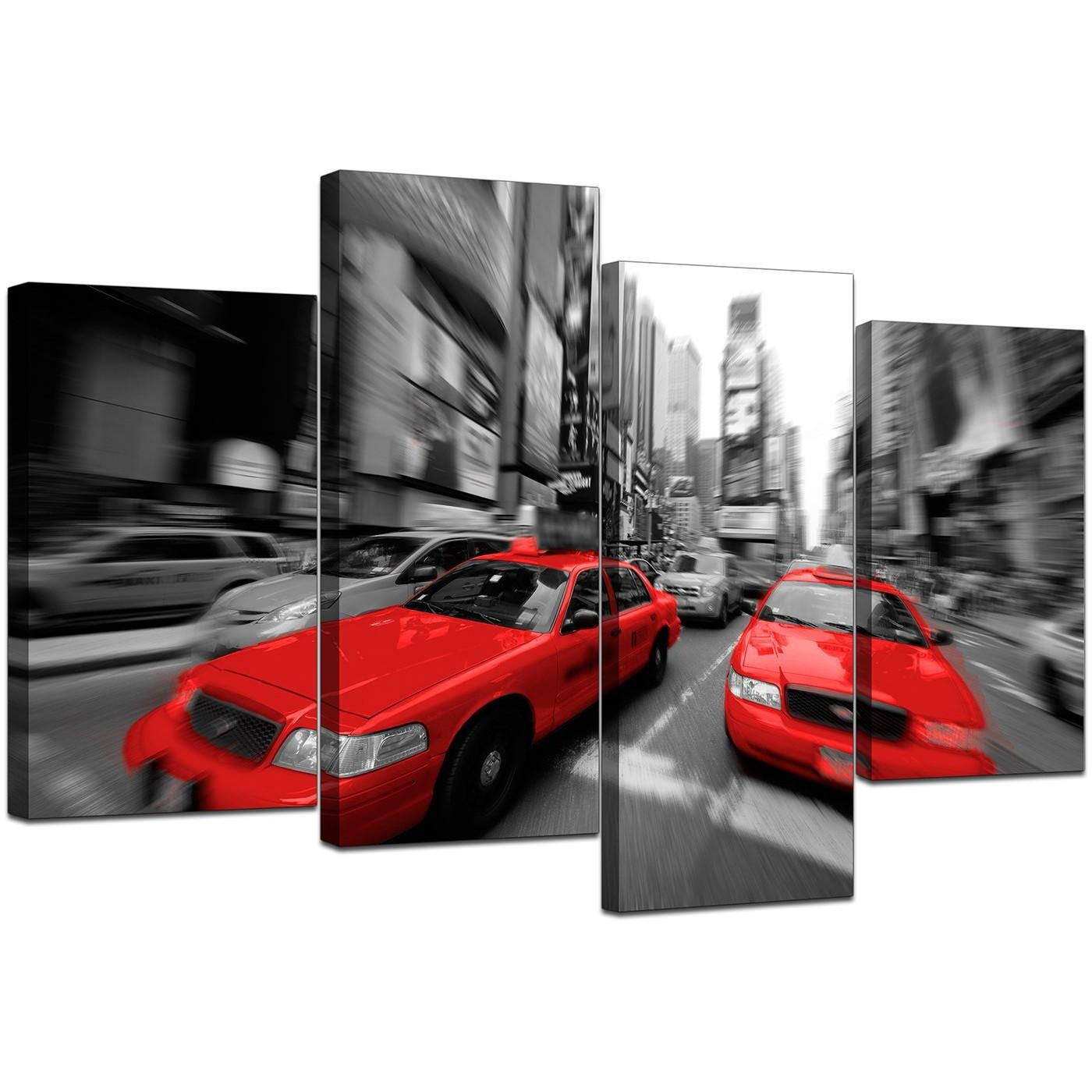 New York Canvas Prints In Black White & Red – For Living Room With Regard To Black And White Wall Art With Red (Image 14 of 20)