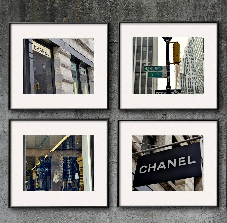 New York City Fashion Wall Art Set Of 4 | Coco Chanel Wall Decor In Chanel Wall Decor (Image 18 of 20)