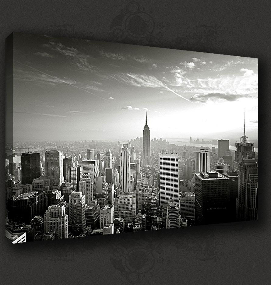 New York City Manhattan Skyline Canvas Print Pop Art Poster Many Throughout New York Skyline Canvas Black And White Wall Art (Image 9 of 20)