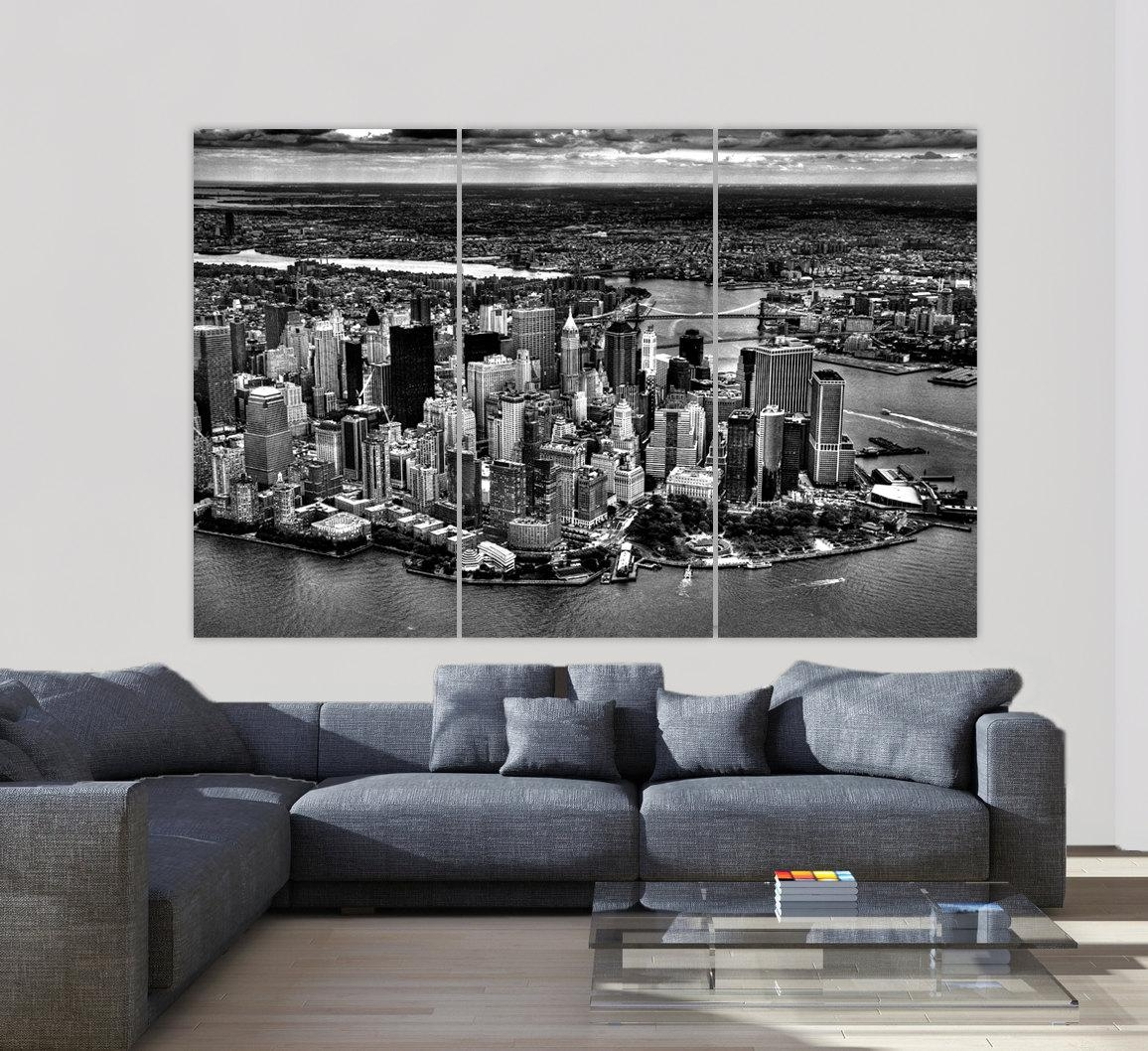 New York Skyline Aerial Photo New York City New York Art Within New York City Canvas Wall Art (View 18 of 20)