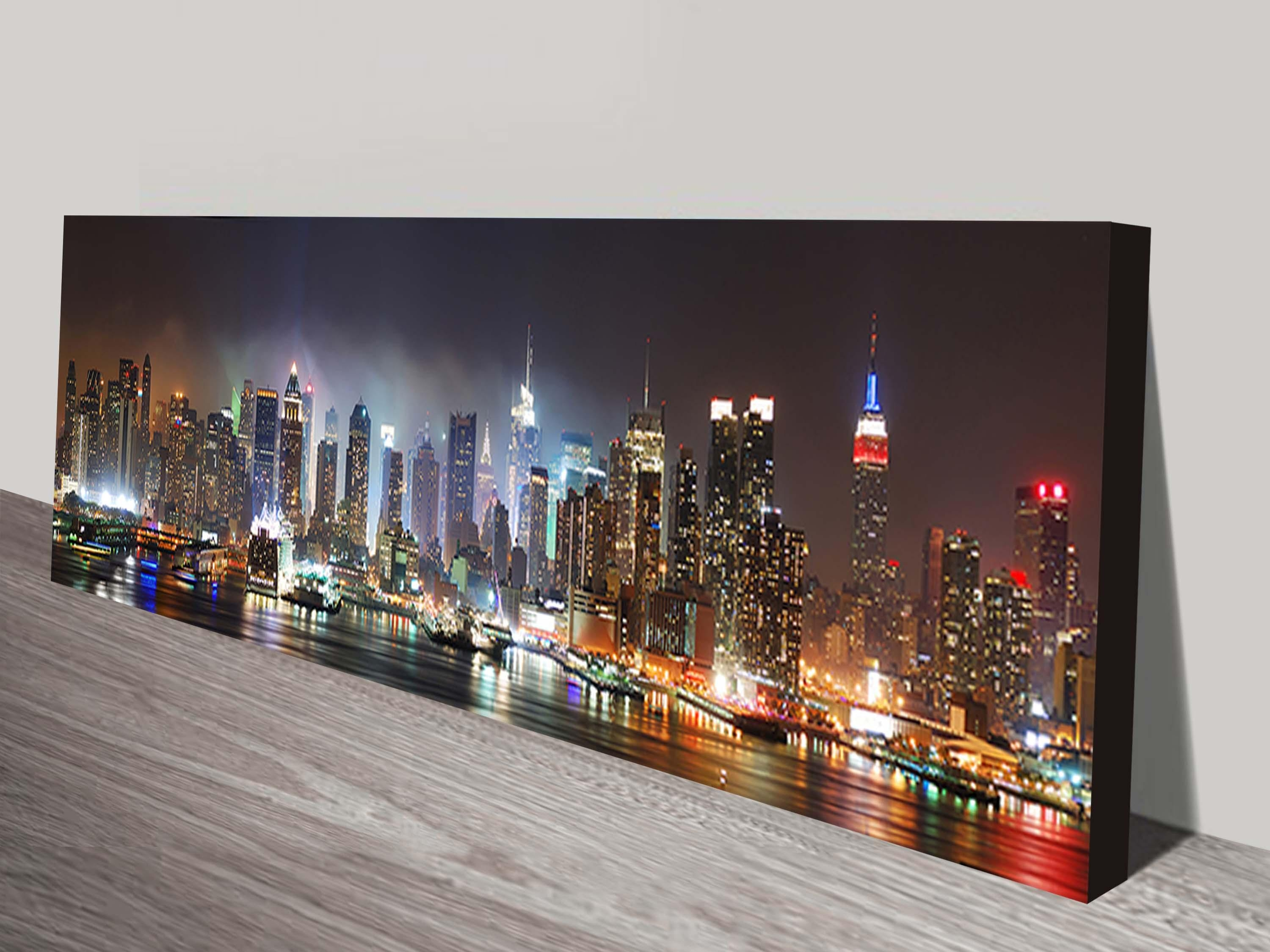 New York Skyline Canvas Wall Print On Canvas Regarding New York Skyline Canvas Black And White Wall Art (Image 10 of 20)