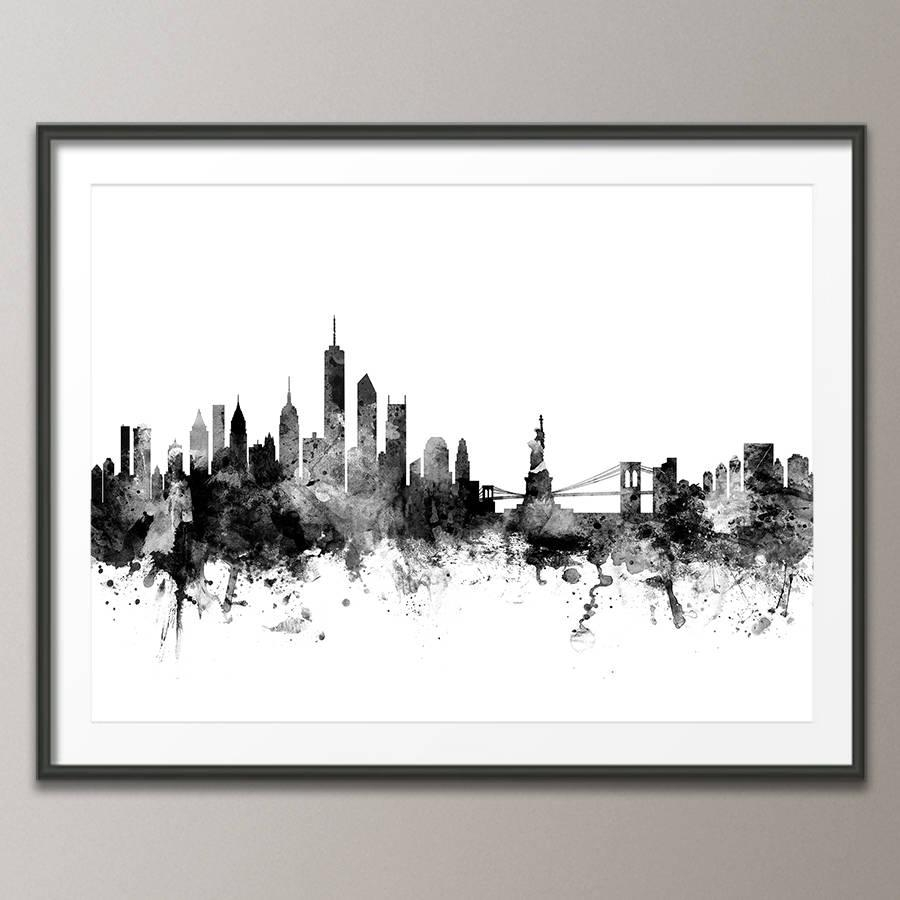 New York Skyline Cityscape Black And Whiteartpause Inside New York Skyline Canvas Black And White Wall Art (Image 11 of 20)