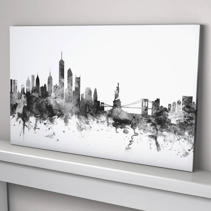 New York Skyline Cityscape Black And Whiteartpause Pertaining To New York Skyline Canvas Black And White Wall Art (View 9 of 20)