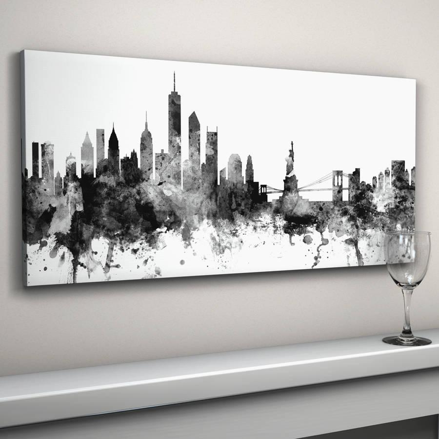 New York Skyline Cityscape Black And Whiteartpause Pertaining To New York Skyline Canvas Black And White Wall Art (View 1 of 20)