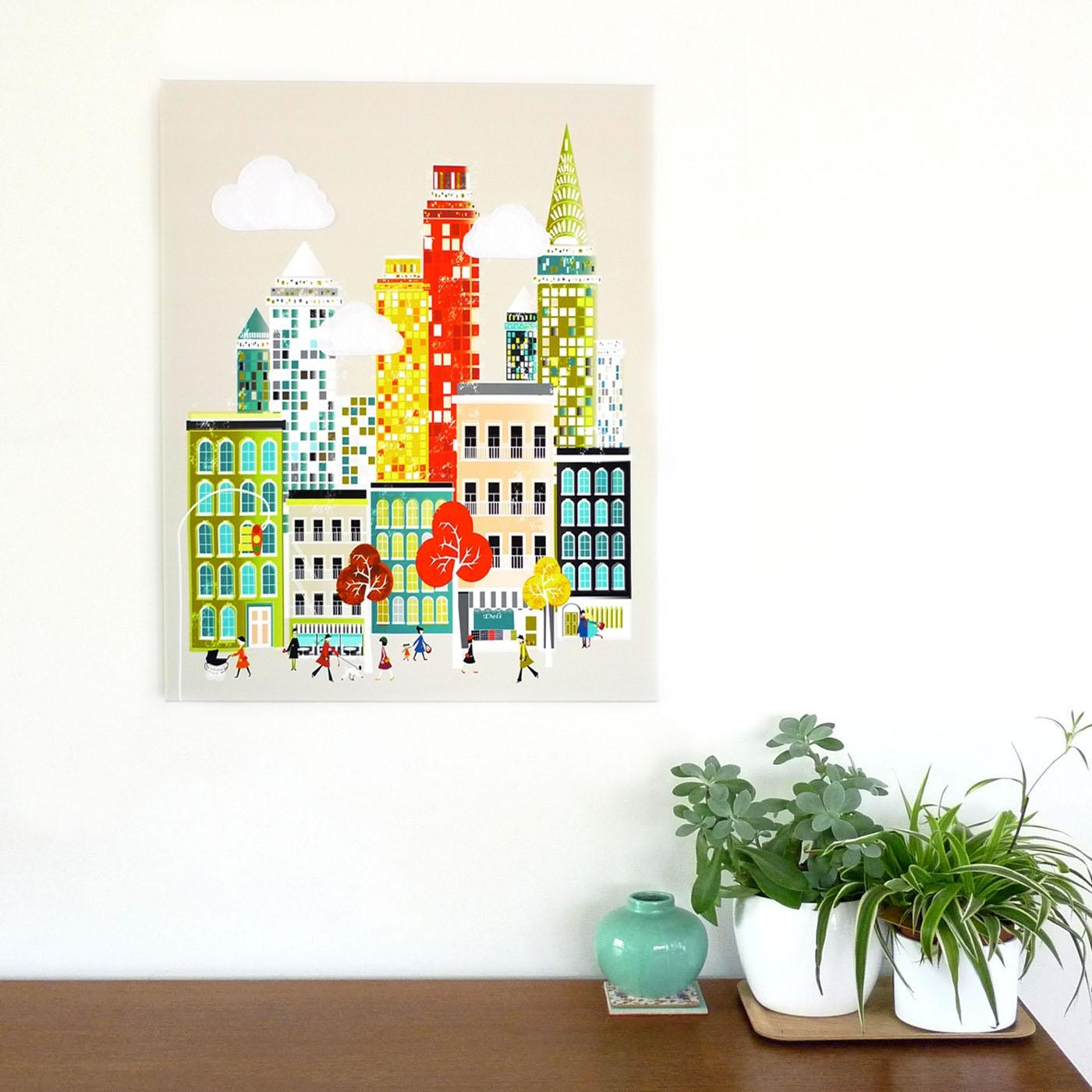 New York Wall Art, Manhattan Skyline, Framed Canvas Wall Art Inside Cityscape Canvas Wall Art (Image 13 of 20)