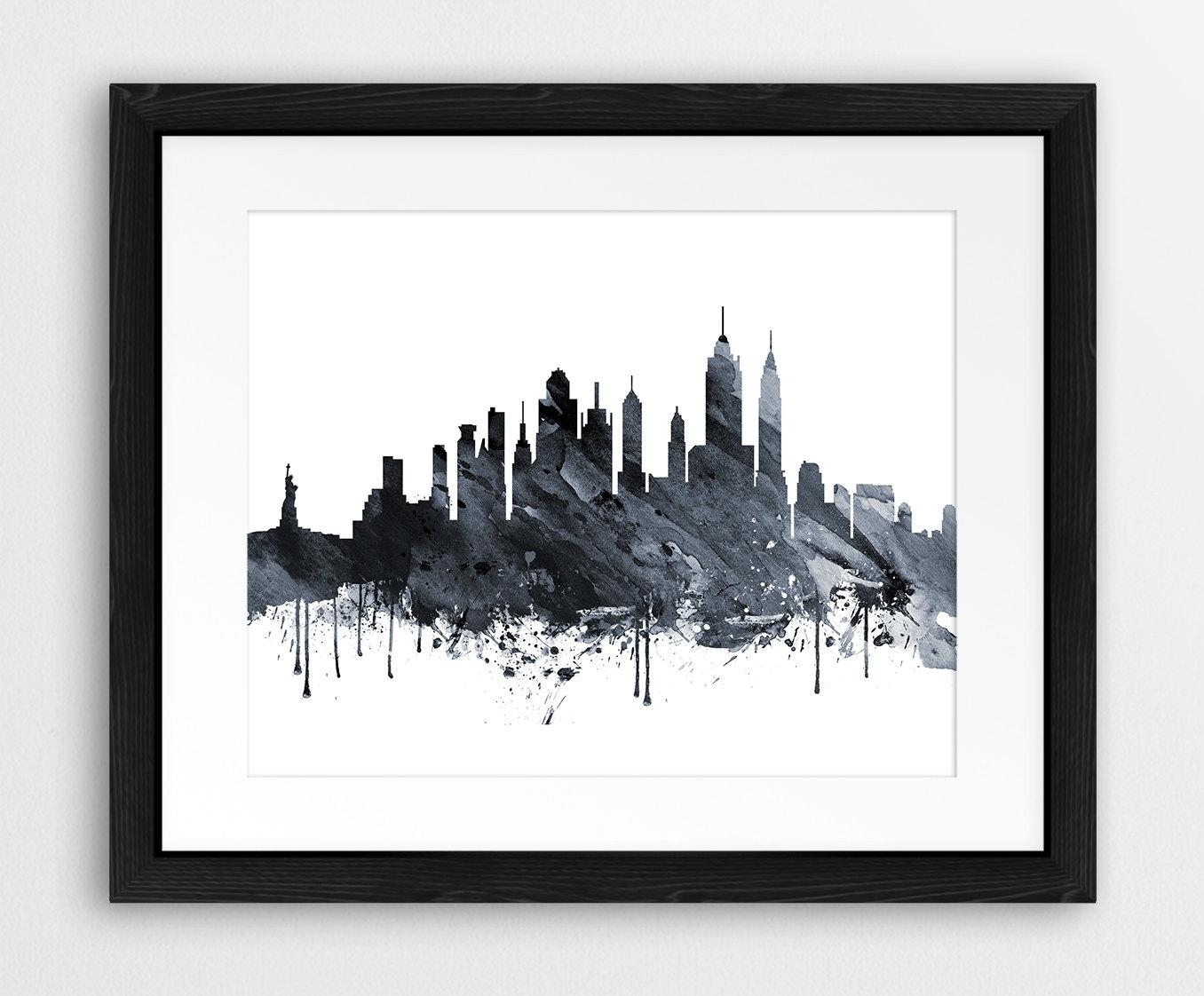 20 Top New York Skyline Canvas Black And White Wall Art