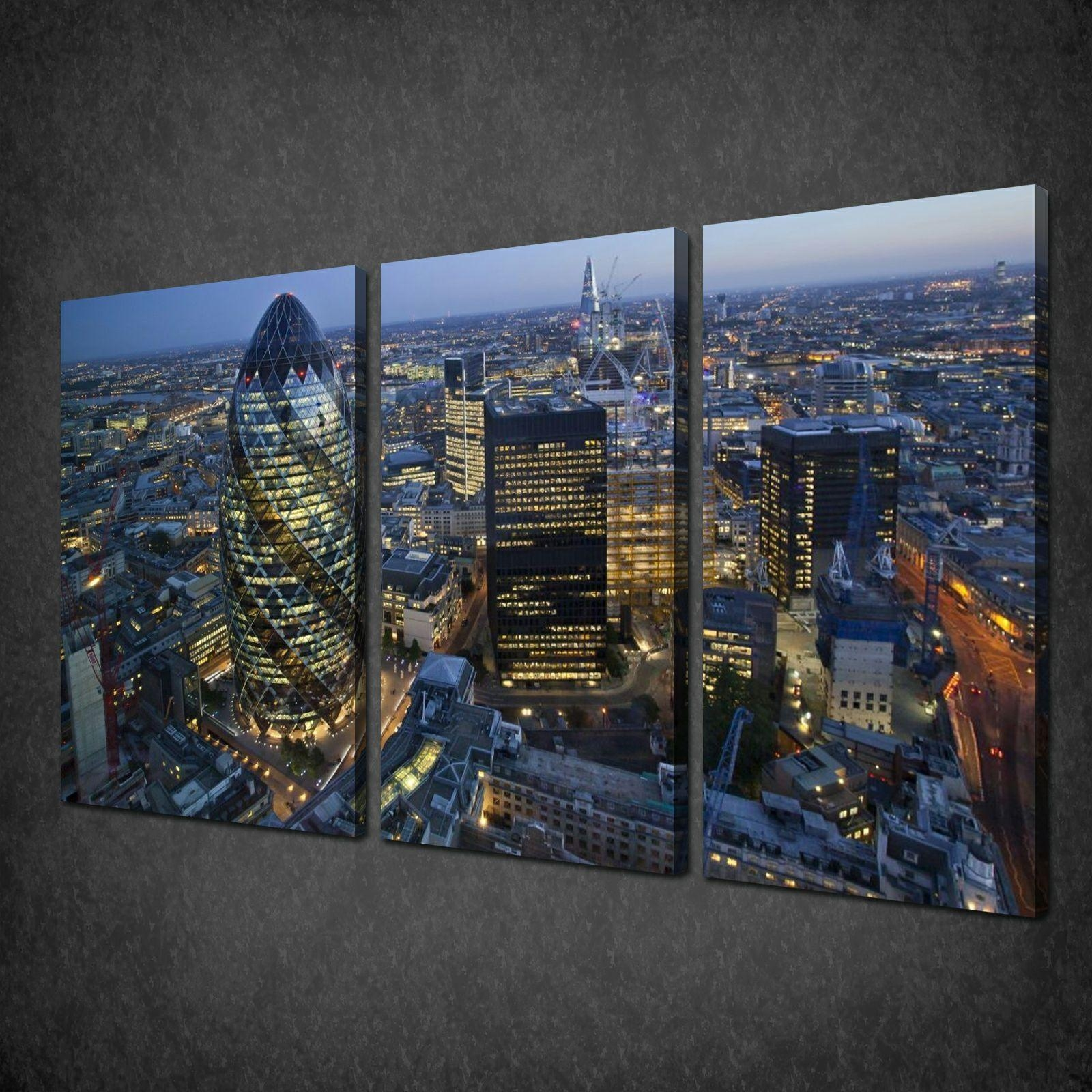 Night In London City Skyline 3 Panels Canvas Print Picture Wall Throughout Cityscape Canvas Wall Art (Image 15 of 20)