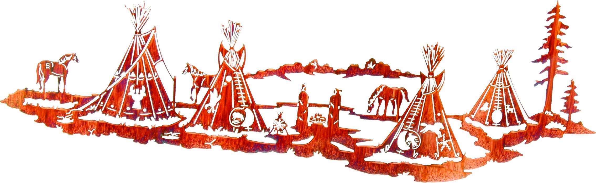 Nightfall (Indian Village)Lazart – Sanger Metal Art And Gifts Regarding Lazart Metal Art (View 17 of 20)