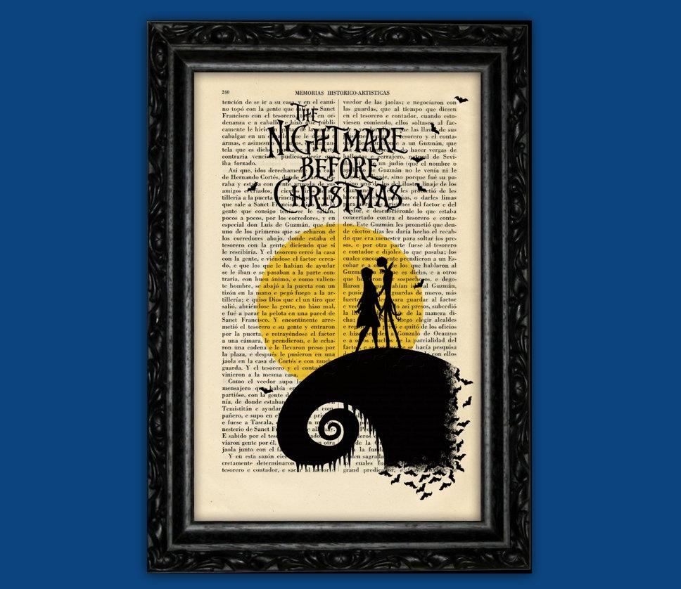Nightmare Before Christmas Moon Print Tim Burton Halloween Within Tim Burton Wall Decals (View 16 of 20)