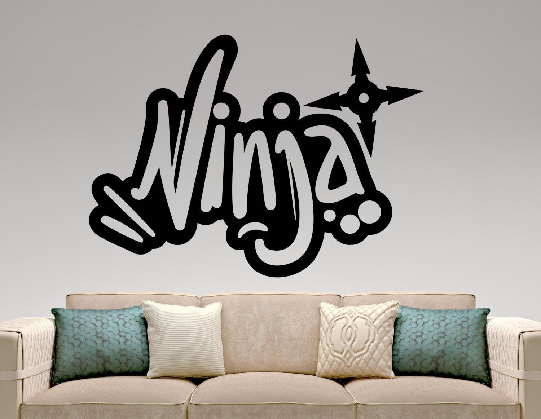 Ninja Graffiti Wall Decal Vinyl Sticker Home Interior Design Throughout Graffiti Wall Art Stickers (Image 9 of 20)