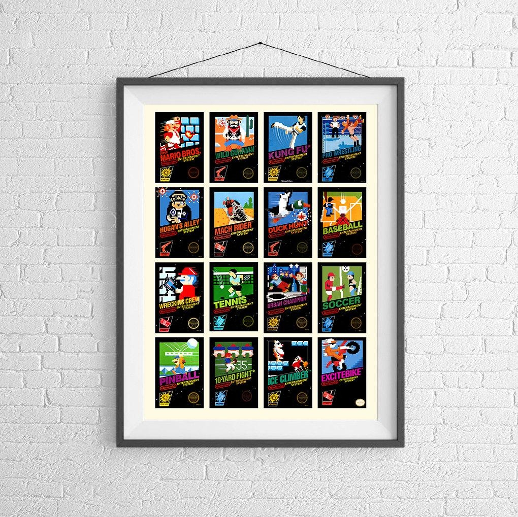 Nintendo 8 Bit Video Game Cover Poster Collection Of Vintage In Video Game Wall Art (View 11 of 20)