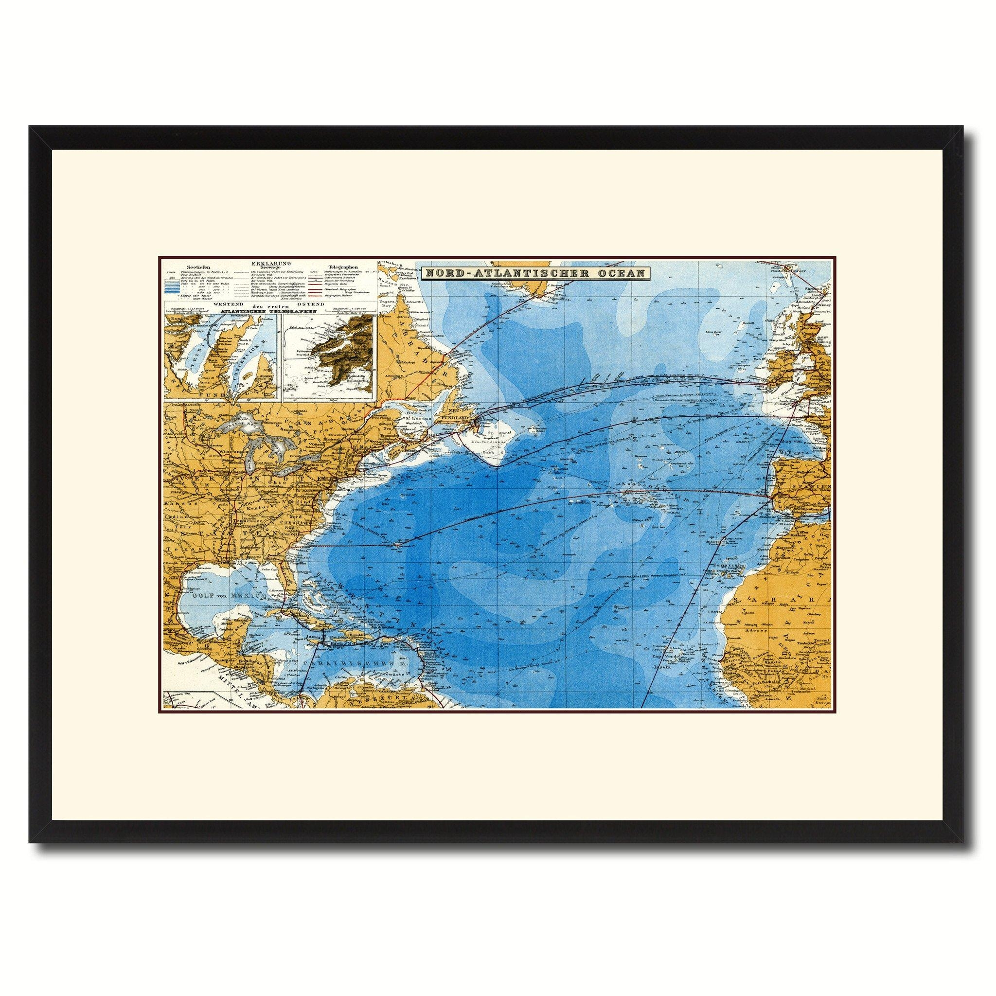 North Atlantic Telegraph Lines Stieler Vintage Antique Map Wall Throughout Vintage Map Wall Art (Image 12 of 20)