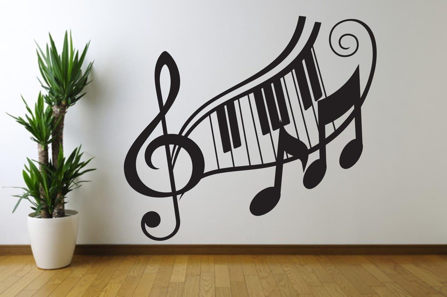Note Treble Clef Wall Art Decal in Music Note Art for Walls
