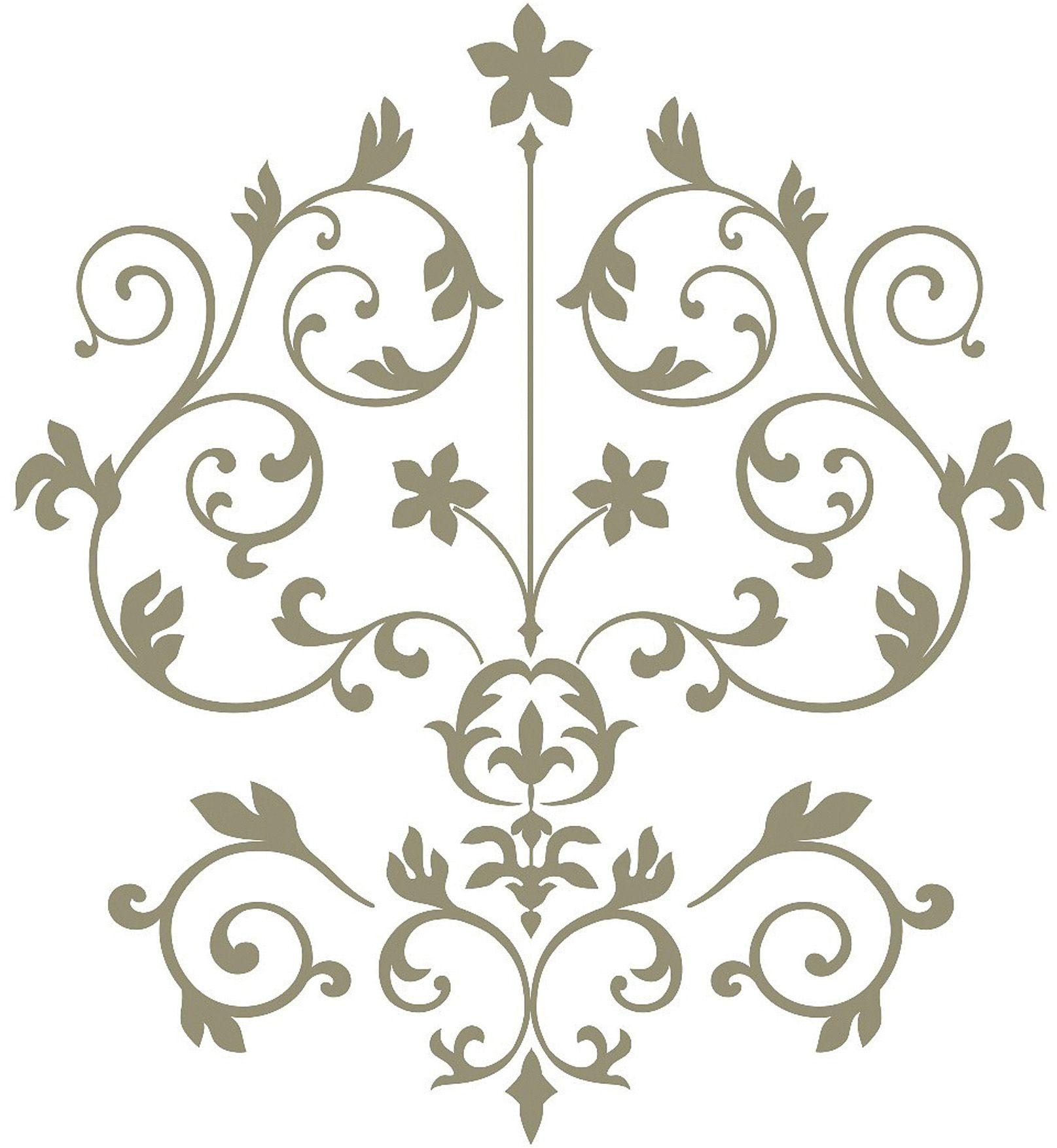 Nouveau Damask Wall Art Sticker Kit Intended For Art Nouveau Wall Decals (Image 15 of 20)