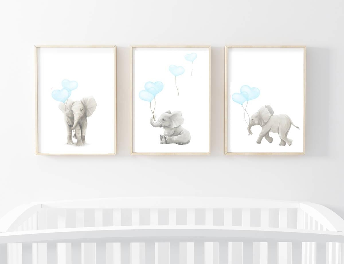Nursery Art Prints Nursery Decor Elephant Art Elephant Art For Nursery Framed Wall Art (View 13 of 20)