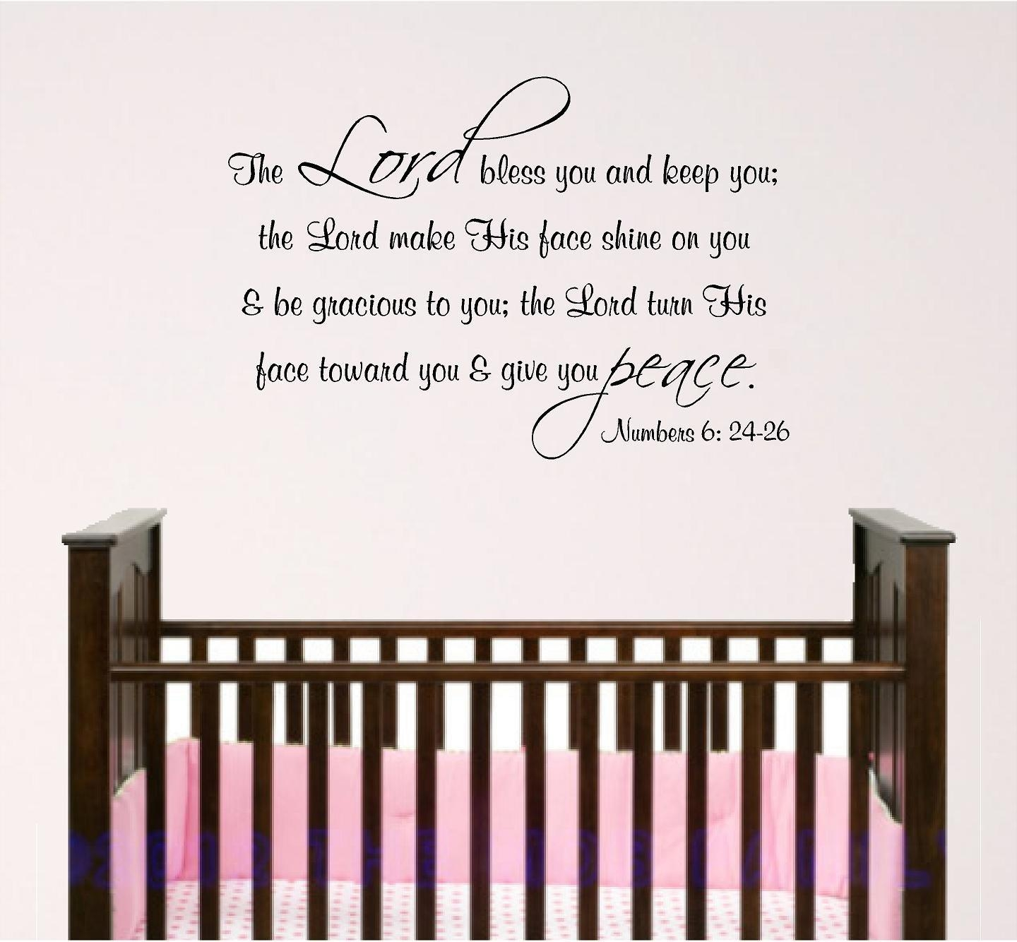 Nursery Bible Verse Wall Art Lord Bless You. Baby Room Decal inside Nursery Bible Verses Wall Decals