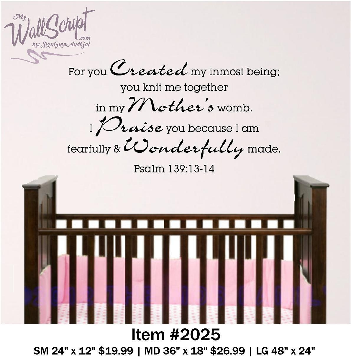 Nursery Bible Verse Wall Decal Psalm 139:13 14 Baby Or Child Pertaining To Nursery Bible Verses Wall Decals (Image 15 of 20)