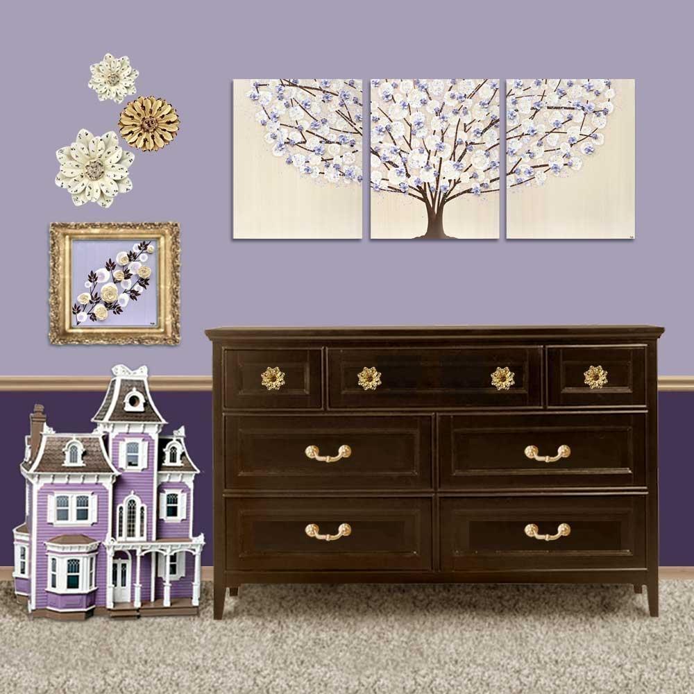 Nursery Canvas Art Tree Painting Khaki And Lavender – Large   Amborela Inside Nursery Canvas Art (Image 11 of 20)