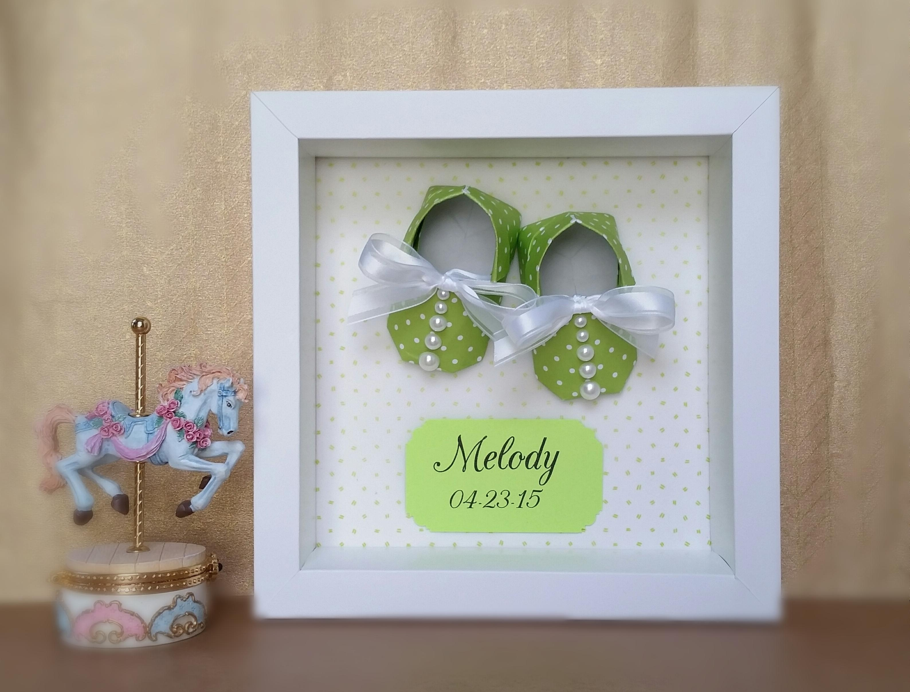 Nursery Decor, Origami Baby Shoes Booties Framed 3D Wall Art Regarding Nursery Framed Wall Art (Image 13 of 20)