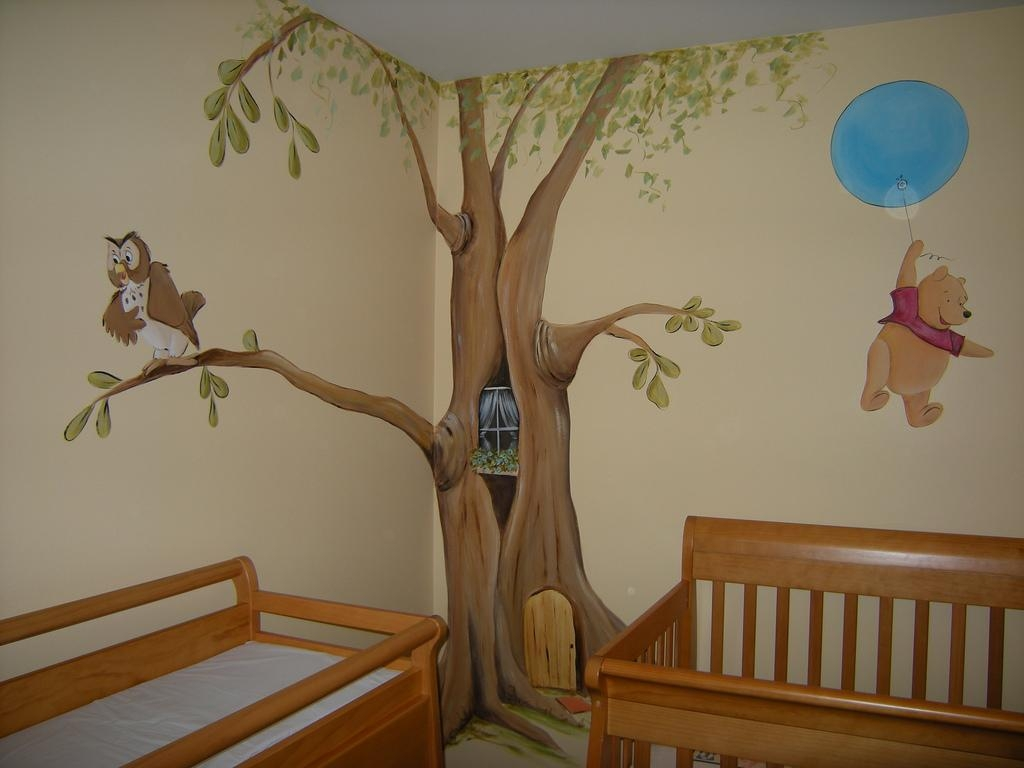 Nursery Mural Wall Cartoon Themed Painting Showcase! - How To with regard to Winnie the Pooh Wall Art for Nursery