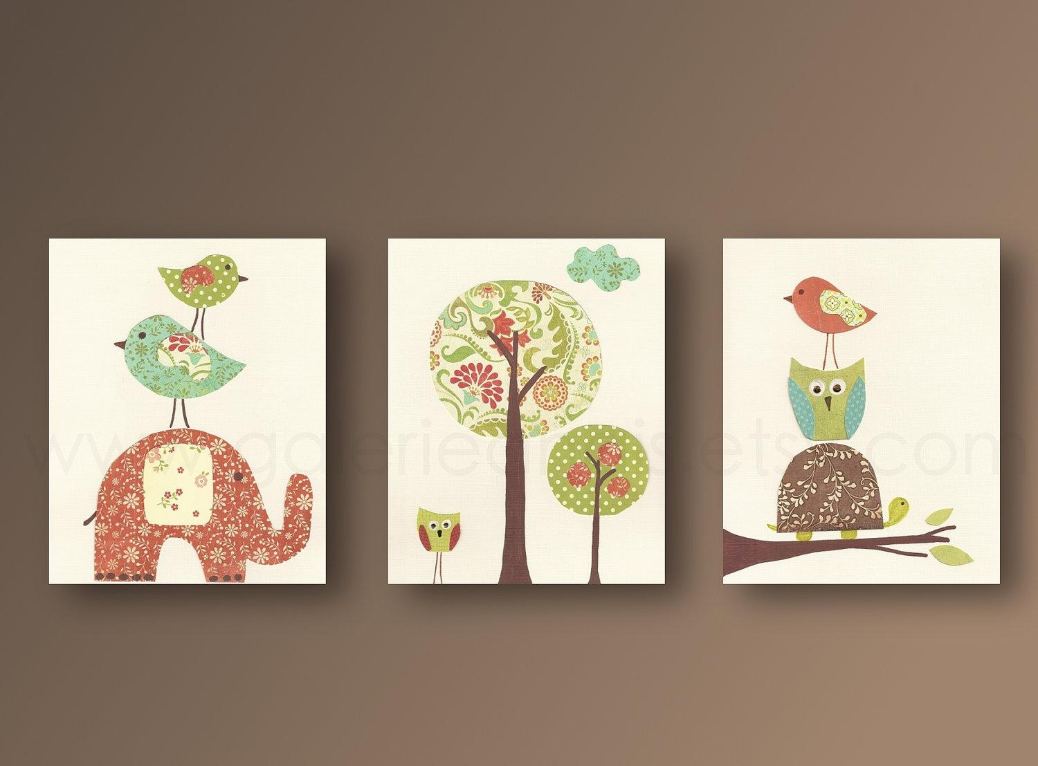 Nursery Wall Art Nursery Art Baby Nursery Kids Room Decor Owl for Childrens Wall Art Canvas