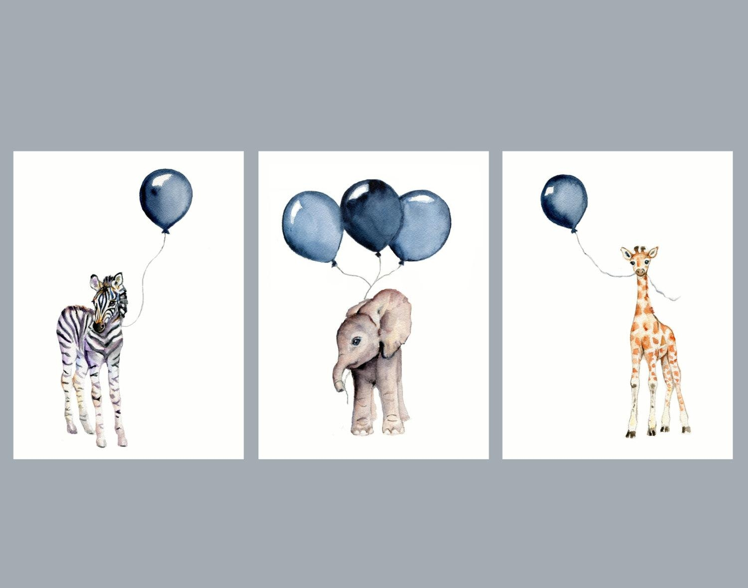 Nursery Wall Art Set Of Three Navy Nursery Decor Baby Animal intended for Wall Art Print Sets