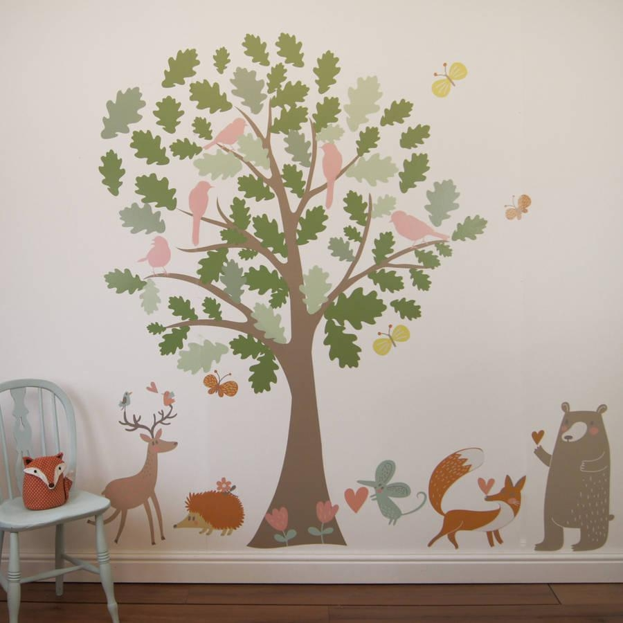 Oak Tree And Animals Woodland Wall Stickersparkins Interiors Pertaining To Oak Tree Wall Art (View 14 of 20)