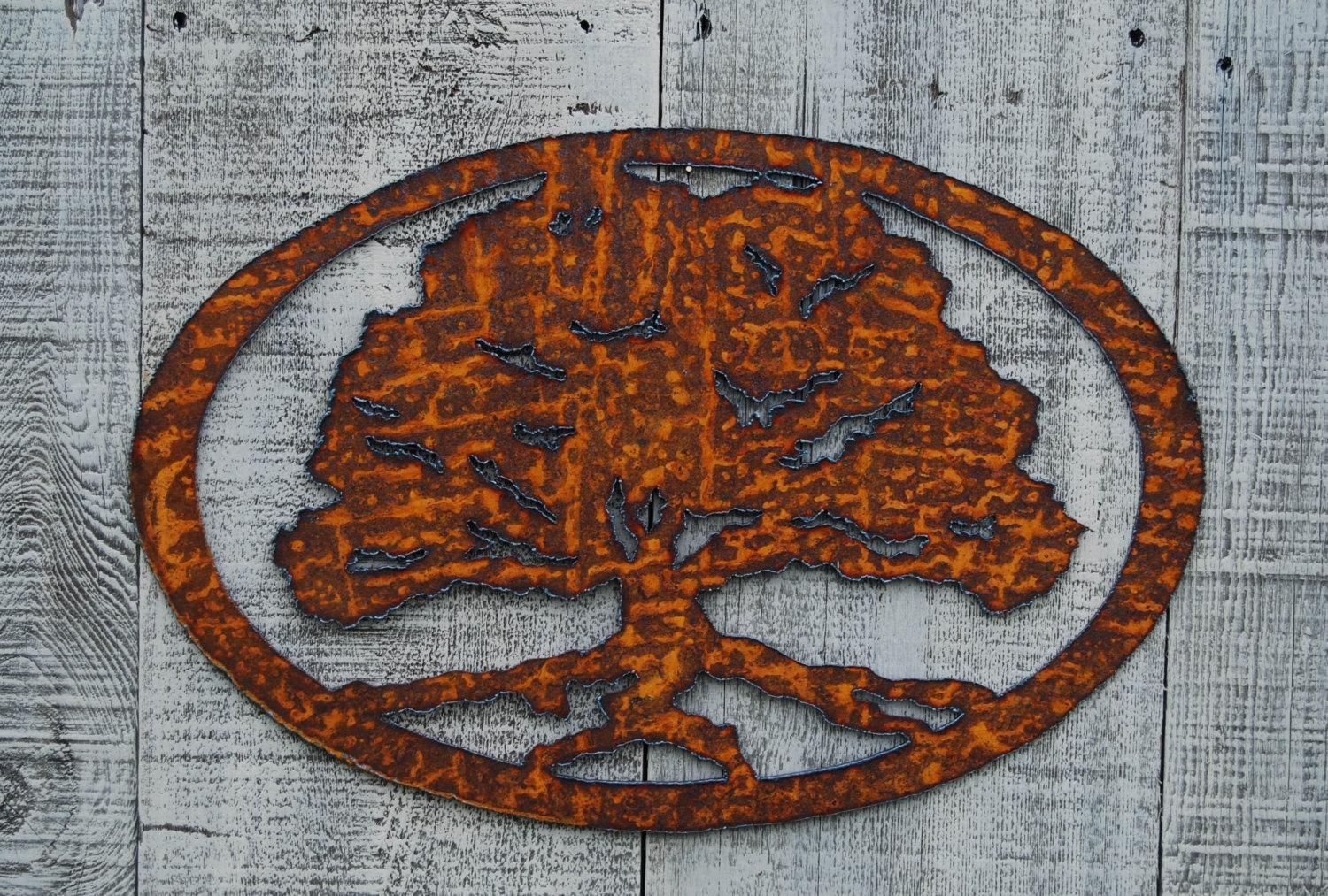 Oak Tree Rusty Metal Wall Art Pertaining To Metal Oak Tree Wall Art (Image 14 of 20)