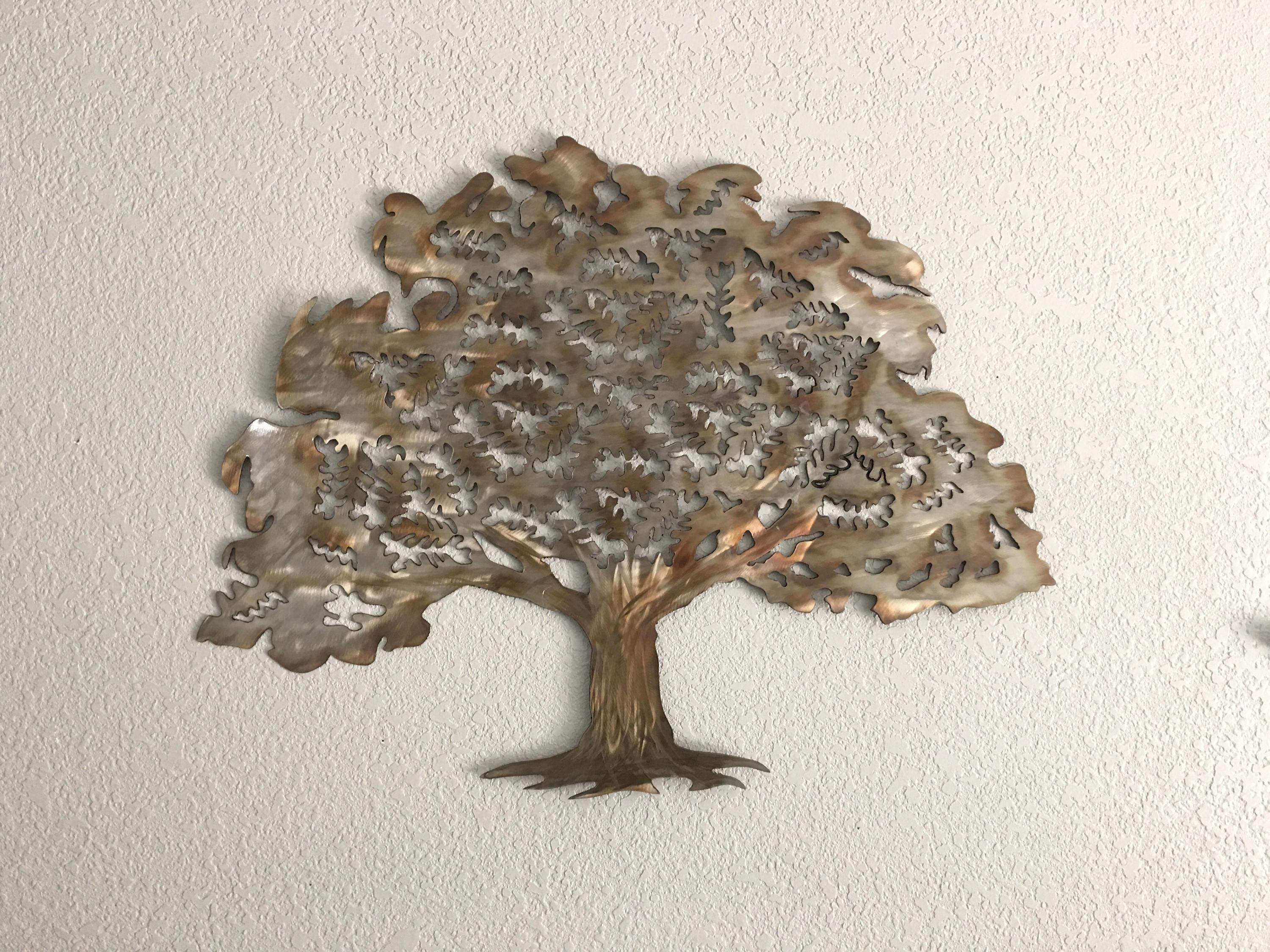 Oak Tree – Stainless Steel Tree – Wall Art – Home Decor With Regard To Metal Oak Tree Wall Art (Image 13 of 20)
