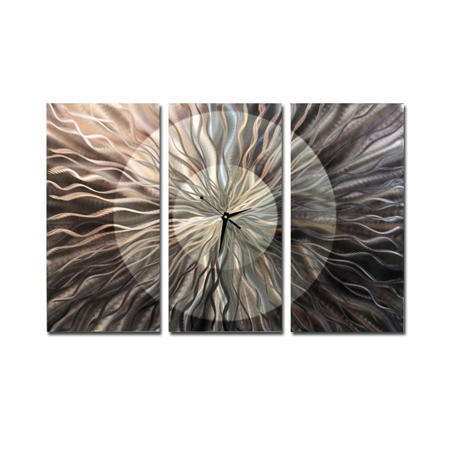 Obsidian Burst Clock – Electric & Unique Silver Metal Wall Clock For 3 Piece Wall Art (Image 15 of 20)
