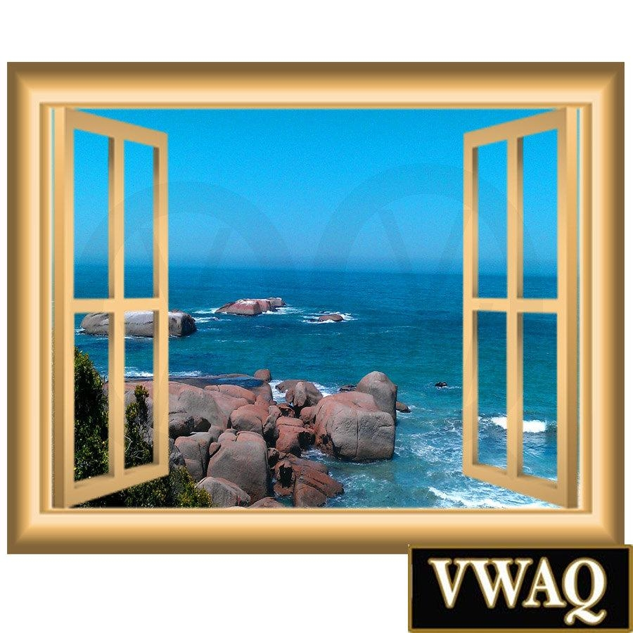 Ocean Scene 3D Window Frame Family Wall Art Vinyl Decal Rocky Regarding Beach Wall Art (Image 15 of 20)