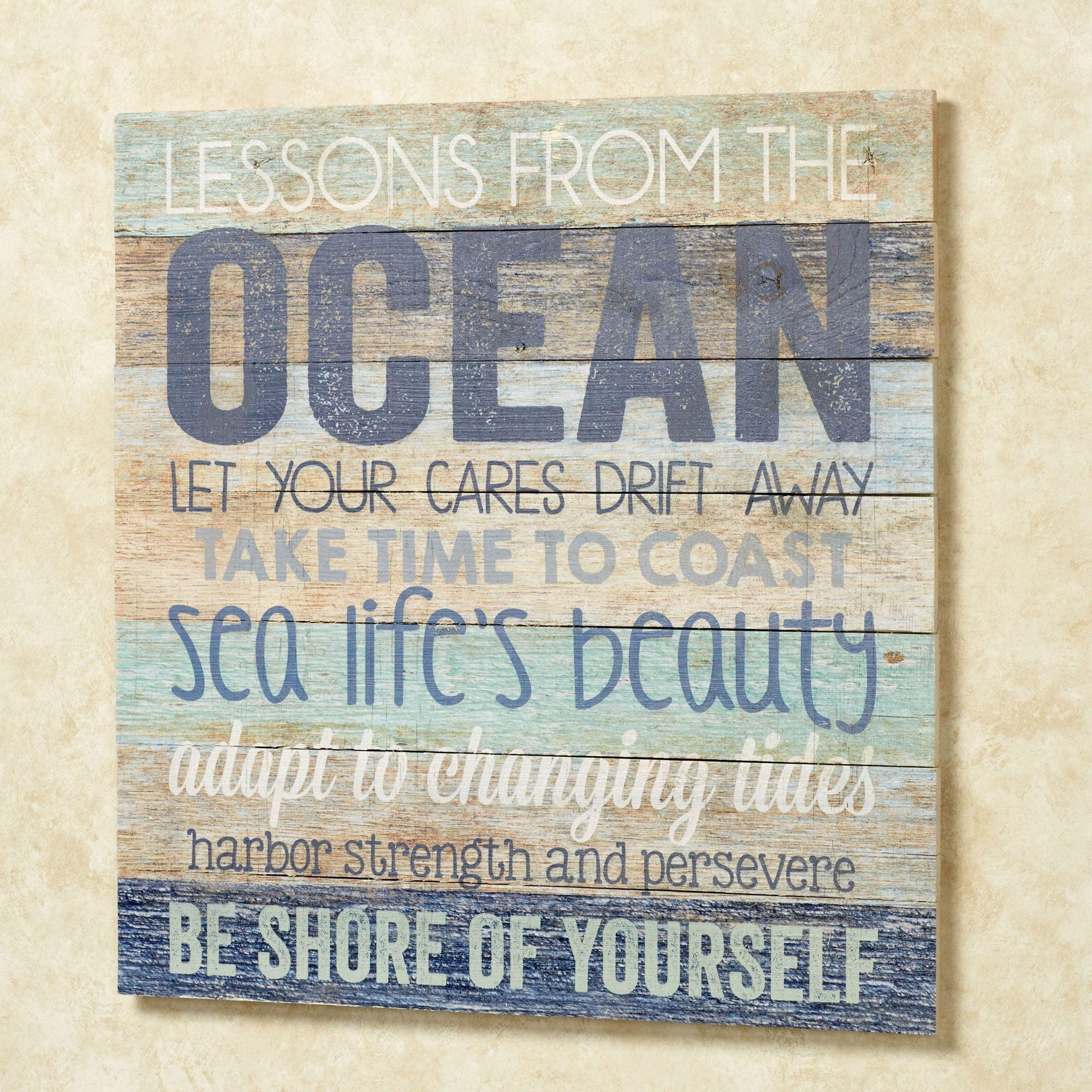 Oceans Wisdom Wood Wall Art Plaque Pertaining To Coastal Wall Art (Photo 8 of 20)