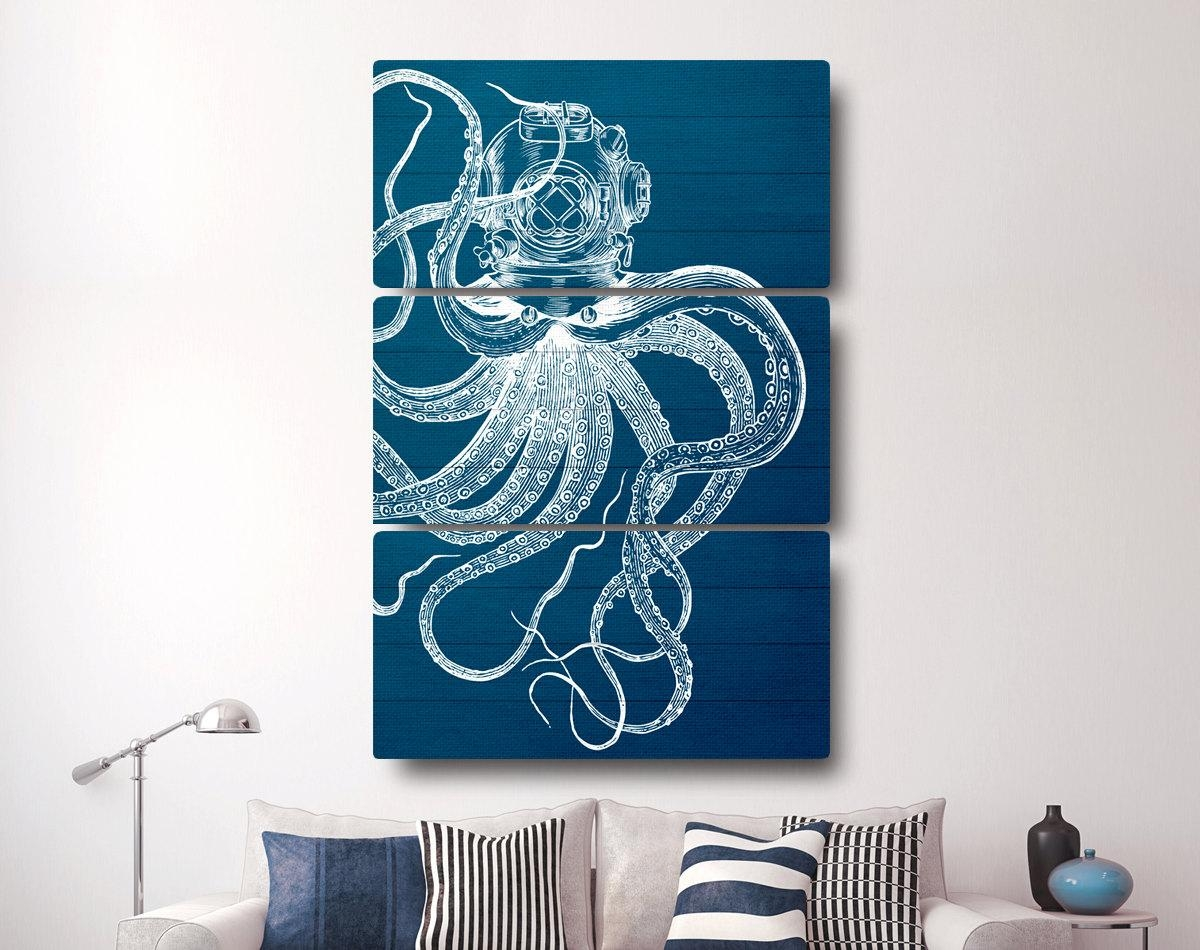 Octopus Canvas Print Nautical Canvas Art Octopus Decor Throughout Nautical Canvas Wall Art (View 4 of 20)